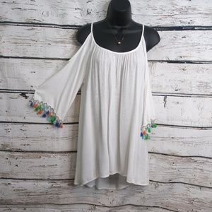 White Cold Shoulder Tunic Cover Up/ Medium